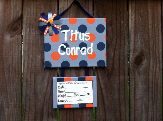 Polka dot baby boy hospital door hanger, door sign on Etsy, $30.00