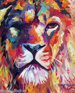 ABSTRACT-ORIGINAL-ART-COLORFUL-CANVAS-PAINTING-16X20-LION-MARC-BROADWAY
