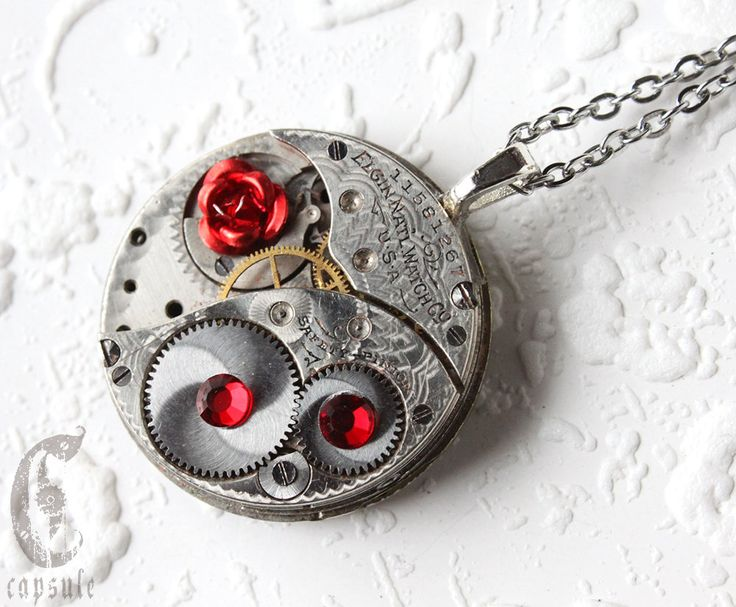 Steampunk Statement Necklace - Red Rose Elgin Guilloche Etch Antique Pocket Watch Movement with Red Siam Swarovski Crystals Gift by CapsuleCreations on Etsy