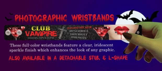 Photographic Full Color Wristbands. Features a clear iridescent sparkle finish which enhances the look of any graphic. Great for special events, sponsor promotions and more! Makes the perfect souvenir after the event! www.medtechgroup.com