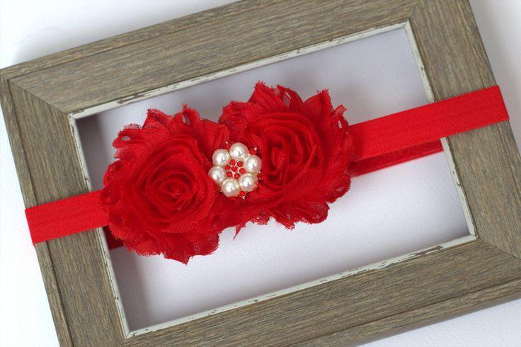 Red Shabby Christmas Headband or Hair Clip with Pearl
