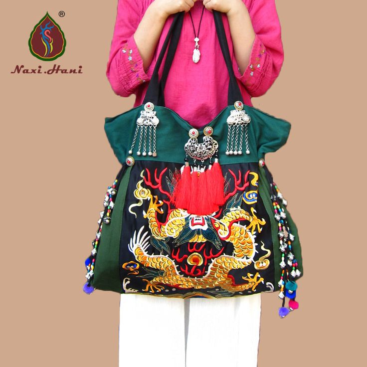 HOT Etnische borduren canvas Grote tassen Originele dragon patroon vrouwen schoudertassen Hmong Vintage DIY Reizen vrouwen tassen(China (Mainland))