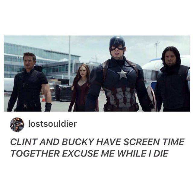 "So guys, I was thinking today about Bucky's chances of being pronounced ""not guilty"" for his crimes as the Winter Soldier, and then I realized that HAWKEYE killed people while under mind control too, and he's free!  Which means in the Marvel Universe legal system they either don't pay attention to those things, or SHIELD has really good lawyers"
