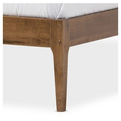 "Bentley Mid - Century Modern Solid Wood Bed Frame - Queen - ""Walnut"" Brown - Baxton Studio"