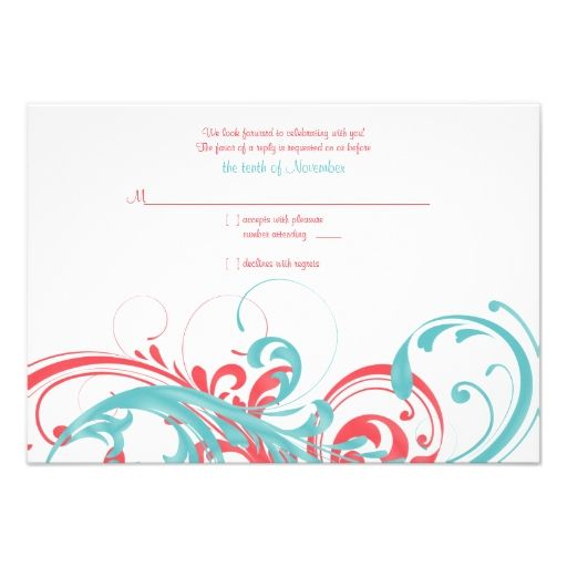 Coral and Aqua Floral Wedding Reply Card Personalized Invitation