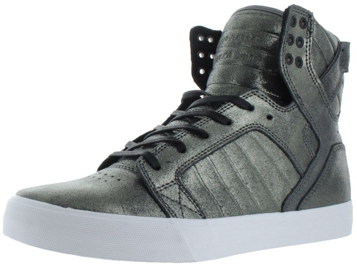The Supra Skytop, the #1 upper of leather, suede, abrasion resistant TUF canvas, or duct tape like TUF materials, depending on the style. These Sneakers feature: an elastic tongue straps and thin padd