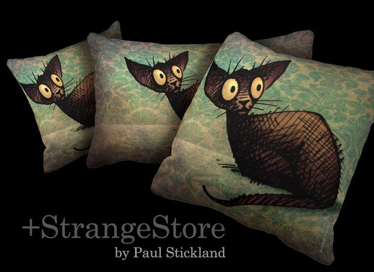 ☆★☆ StrangeStore Cats! ☆★☆ Cute little black oriental cat drawn by Paul Stickland for StrangeStore on Zazzle #strangestore #cats #orientalcats #blackcats See black cat pillows here ► http://society6.com/PaulStickland/Pillows  See more funny cats here ► www.zazzle.com/strangestore/gifts?st=date_createdcg=196457910296888967GroupProducts=Falsepg=2rf=238175107415881712tc=pin