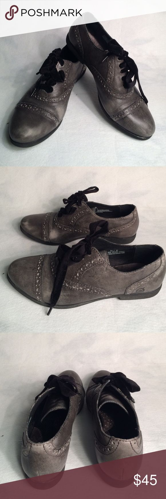 Born leather oxfords Adorable gray Born oxfords. Distressed gray leather with cute velvet black shoe ties. Born shoes are incredibly comfy and these are the perfect addition to any outfit! Excellent grip soles. Size 6 1/2, 37 euro. Born Shoes Flats & Loafers