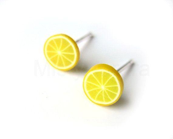 Lemon Stud Earrings  Yellow Lemon Earring Posts  by MistyAurora, $9.00