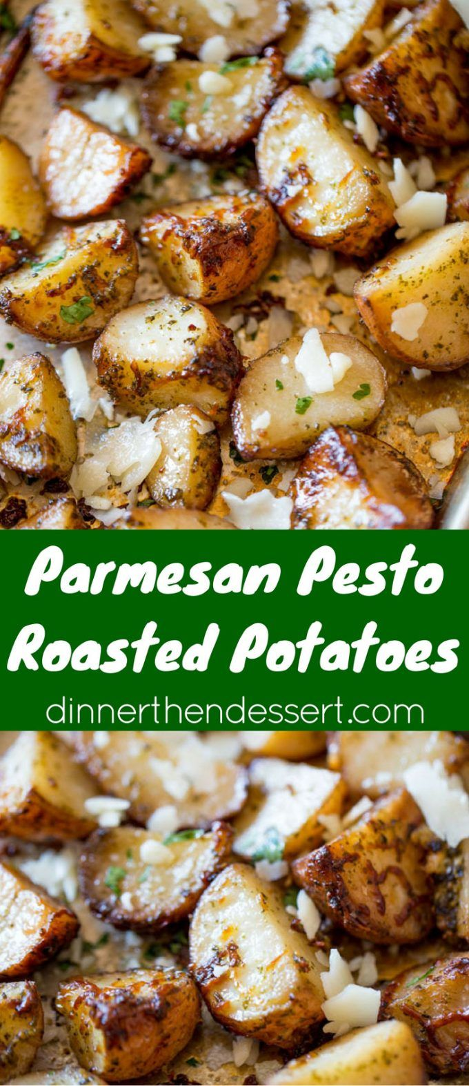Parmesan Pesto Roasted Potatoes are ready for roasting in minutes with red potatoes, basil pesto, olive oil and Parmesan Cheese. dinnerthendessert.com