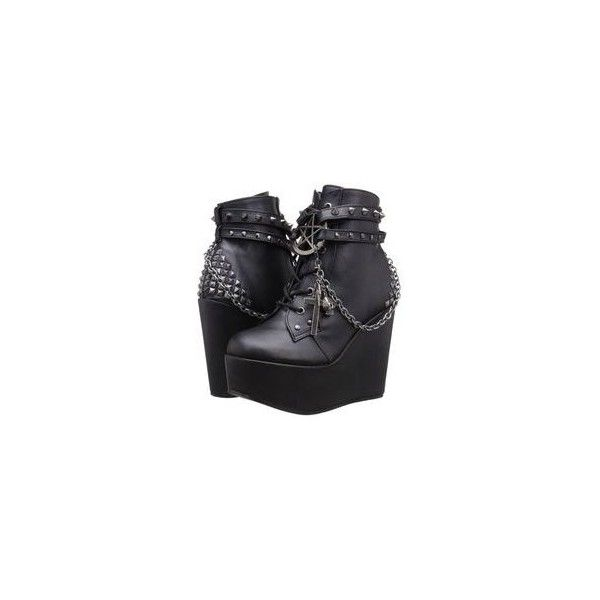 Demonia Gothic Goth Punk Poison 101 Ankle Boot Wedge Vegan Black... ❤ liked on Polyvore featuring shoes, boots, ankle booties, black wedge bootie, black wedge ankle booties, wedge booties, ankle boots and black bootie