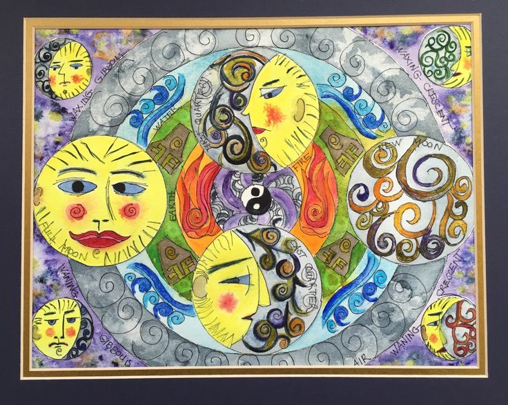 The Moon Phases and Four Elements Watercolor, Moon Phase Art, Moon, Four Elements, Moon Phase In Wall Hanging, Yin and Yang, Man In The Moon by ThePaintedSpirit on Etsy