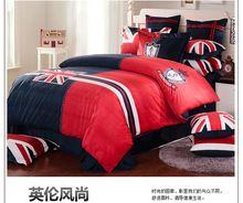 Британский постельные принадлежности красный синий великобритании флаг кровать комплект велюр кровать постельное белье британский союз джек постельное белье красный крестики кровать распространяется 5113
