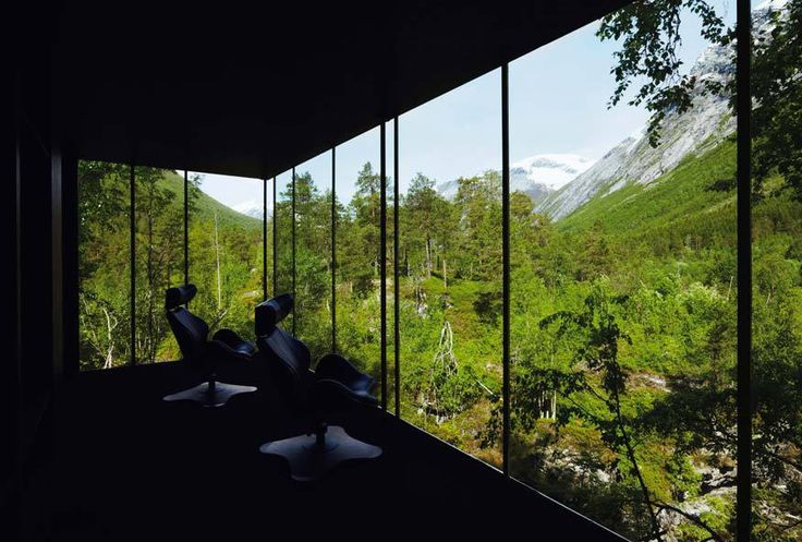 """The Juvet Landscape Hotel is located at Valldal, near the town of Åndalsnes in north-western Norway. Passing tourists are attracted by a spectacular waterfall in a deep gorge near the road, """"Gudbrandsjuvet"""". http://www.juvet.com/"""