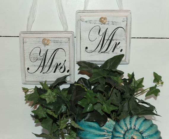 Beach Wedding Mr and Mrs Pew or Chair hangers by justbeachyshop, $29.50Chairs Hangers, Beach Wedding