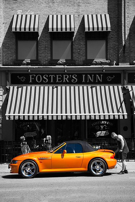 Car, street view, black and white splash of colors. Photo taken and made by Audrey Liu.