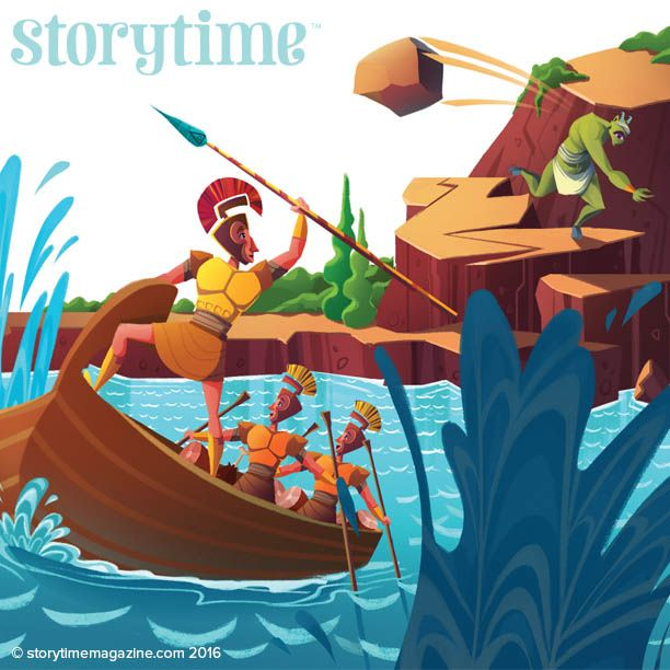 Odysseus makes his escape! The Cyclops stars in Storytime Issue 18. Art by Spencer Epps (https://www.behance.net/spencereppsart) ~ STORYTIMEMAGAZINE.COM
