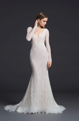 V-Neck Fit and Flare Wedding Dress  with Natural Waist in Chantilly Lace. Bridal Gown Style Number:33470816