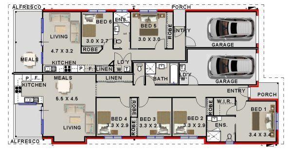 Miraculous 6 Bed Dual Living House Plan 246Du Floor Plans Outdoor Beutiful Home Inspiration Xortanetmahrainfo