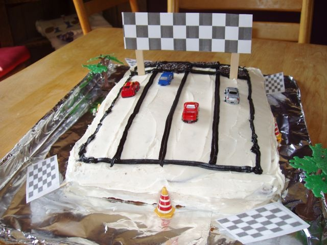 Race car cake - different view