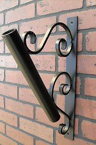 Flag Pole Holder Wall Mount Wrought Iron with Black Powder Coated Paint | eBay