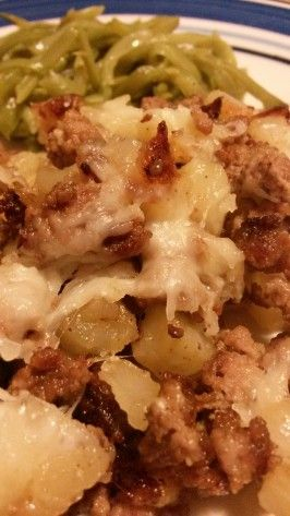 """Poor Man's Hash"" Ground Beef and Potatoes. Tried this, added onions, garlic and onion powder, and shredded cheese afterwards. Very good, easy and cheap. Next time adding bacon bits and serving with sour cream."