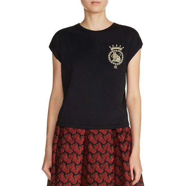 Maje Torino Metallic Embroidered Tee (£82) ❤ liked on Polyvore featuring tops, t-shirts, black, metallic tee, cap sleeve top, embroidered t shirts, maje top and cap sleeve tee