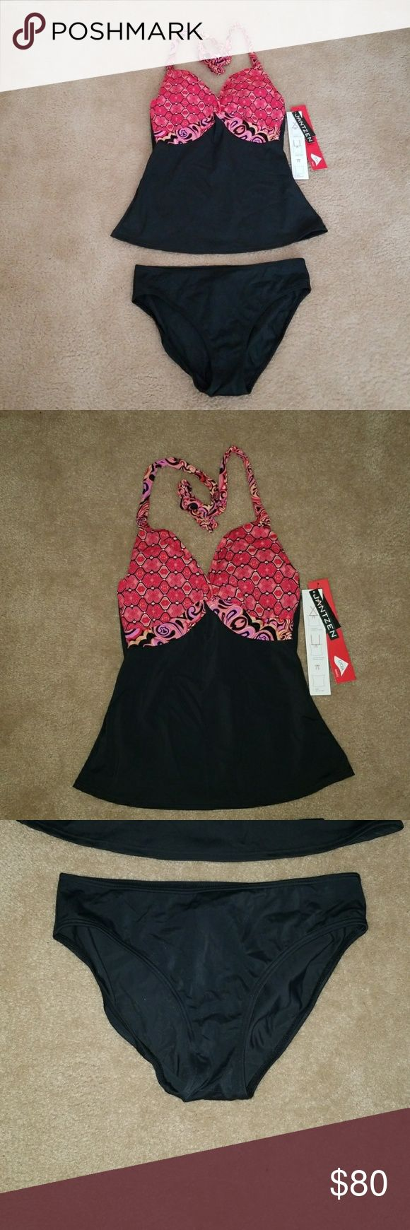 Jantzen Halter Bikini Swimsuit 2 Pc Size 6 NWT Jantzen Halter Bikini Swimsuit   Colors - Black, Red, Pink and Multi-colors  Size 6  New with Tags Retails $120  Lycra Xtra Life Spandex  2 Pc set Bikini Top & Bikini Bottom  Bikini Top can be worn 3 different ways:  Halter, Over the Shoulder or Cross Back Jantzen Swim Bikinis