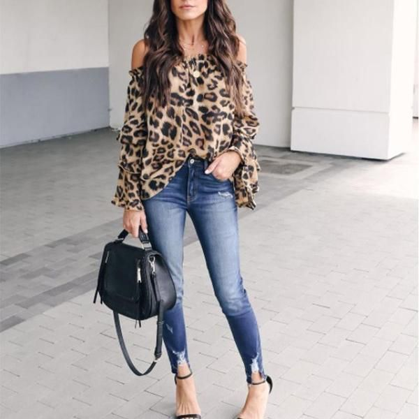 d9512b803f883 Leopard Printed Off Shoulder Flare Long Sleeve Sexy Blouses Blouse Outfit