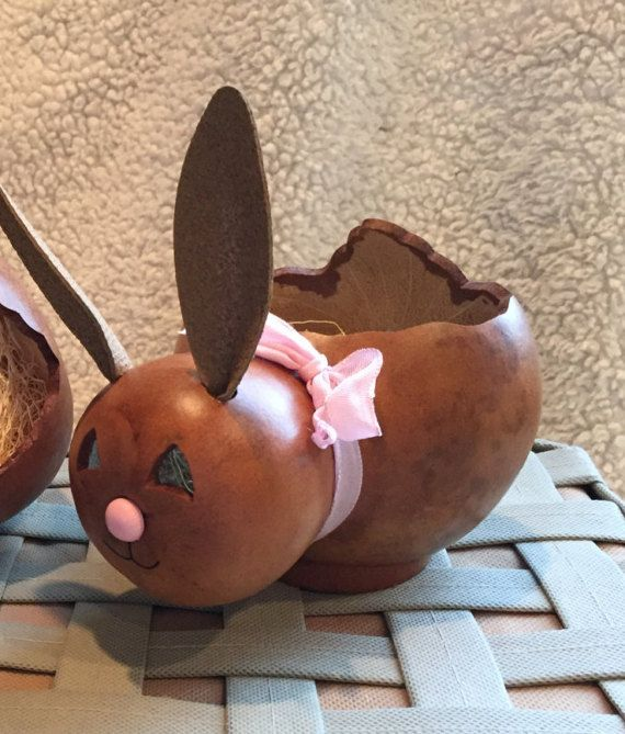Easter Bunny Gourd Basket Spring Rabbit by BerrianCrafts on Etsy