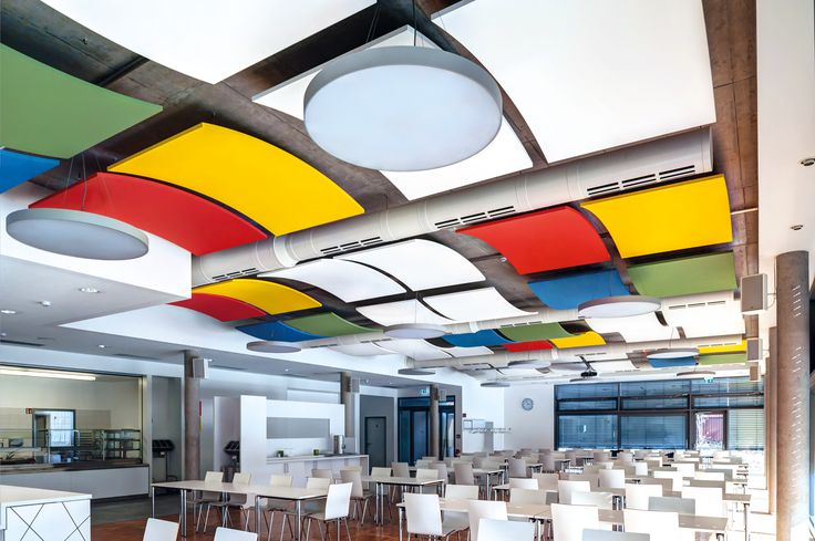 Kafeteria w LEBENSHILFE ZOLLERNALB, Armstrong, sufity podwieszane, ceiling, sufit akustyczny, acoustic, OPTIMA Curved Canopy
