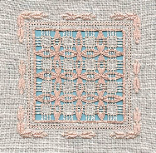 Very delicate drawn thread work.