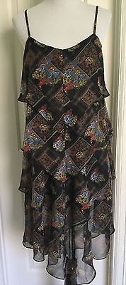Free-People-Tiered-Flowing-Dress-Spaghetti-Straps-Black-Floral-Size-12