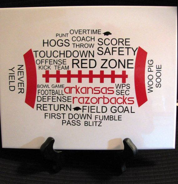 REBELS????? Idea for lockers, could put the boys #, last name...position, etc...?!?!  Arkansas Razorbacks Football Word Art Tile Sign