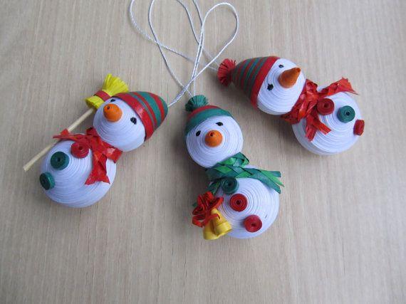 Set of 3 snowmen Christmas ornaments 3D por MayasPaperFantasy
