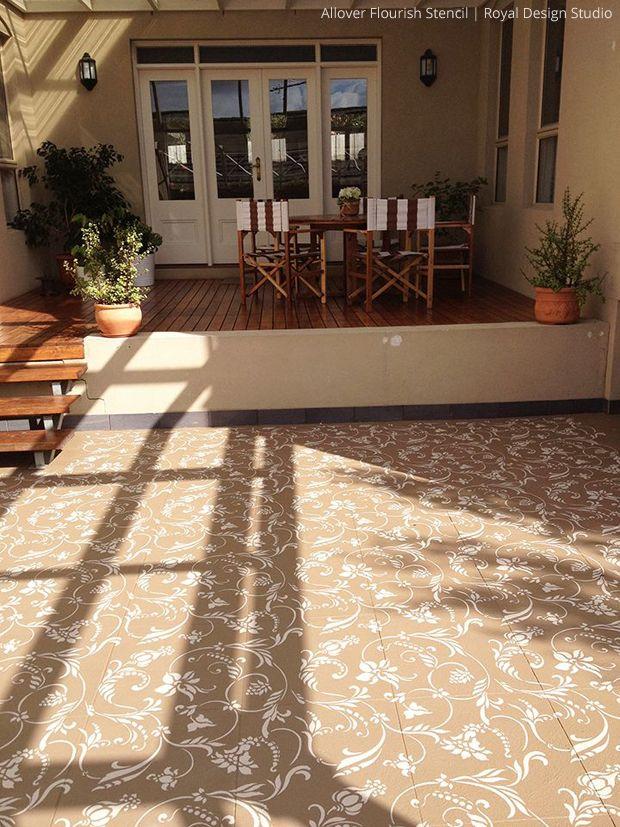 stenciled concrete floor allover flourish stencil by royal design studio - Patio Floor Designs