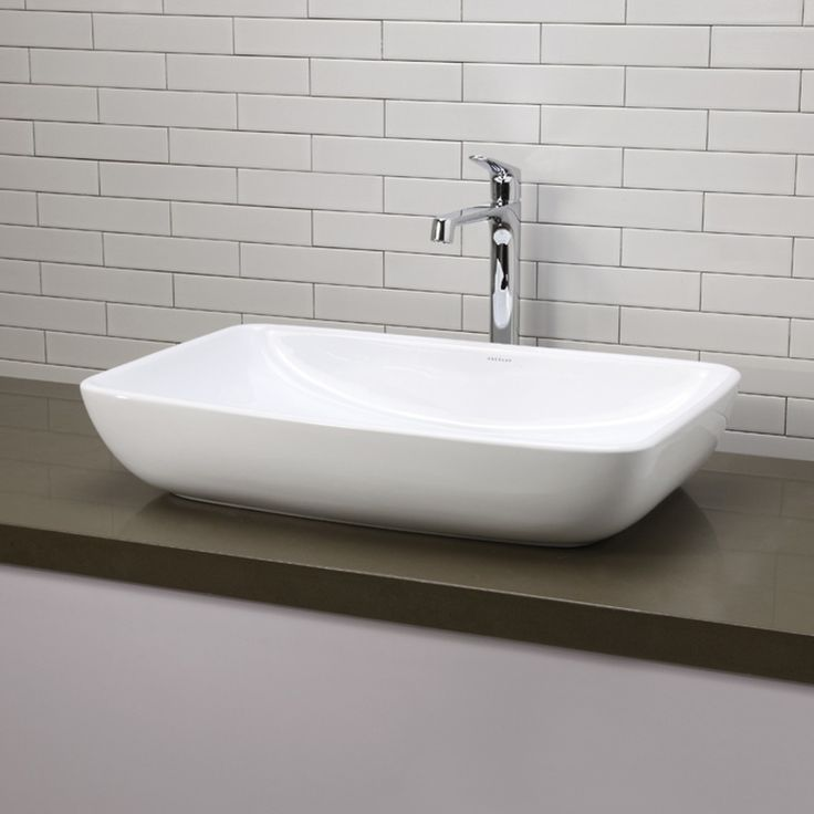 Features:  -Faucet and drain not included.  -Vitreous china is glazed and double fired for durability and stain resistance.  -Bowed front.  Installation Type: -Vessel sink.  Style: -Contemporary.  Sin