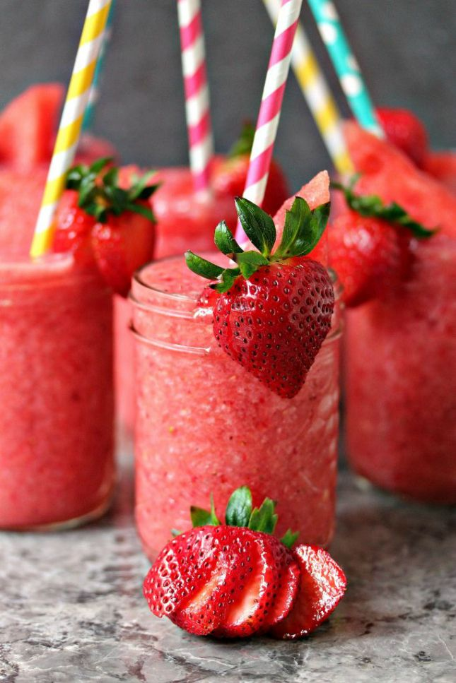 Boozy Strawberry Watermelon Slushies.