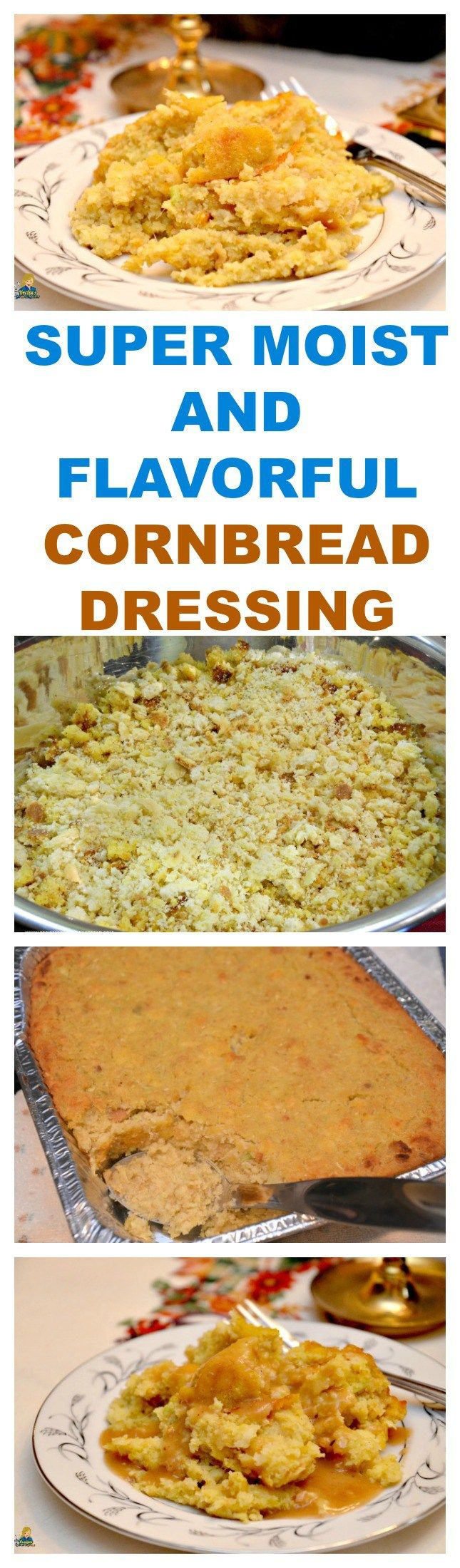 SUPER MOIST AND FLAVORFUL CORNBREAD DRESSING  SEE RECIPE HERE: http://recipesforourdailybread.com/best-moist-cornbread-dressing/