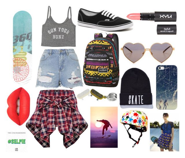 """""""Keep Calm and Skate On"""" by f5fthangel ❤ liked on Polyvore featuring Billabong, Topshop, Vans, Dakine, Wildfox, Casetify, Bling Jewelry, Lime Crime and Kiddimoto"""