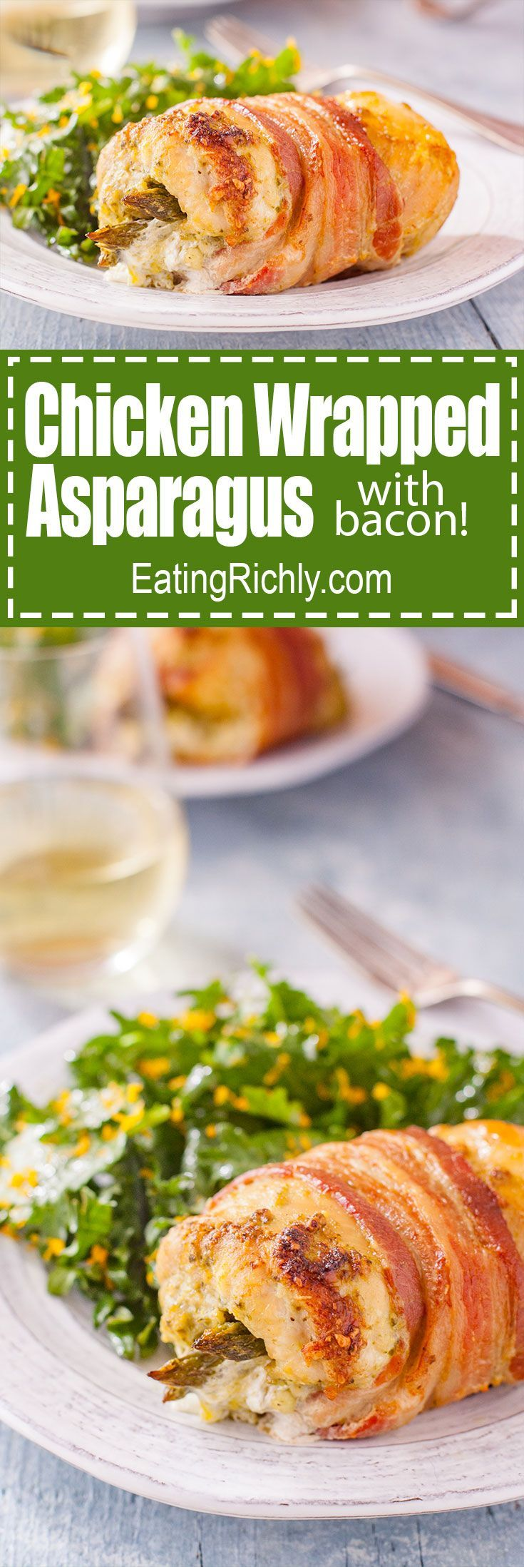 A few simple ingredients, in a beautiful presentation, make bacon and chicken wrapped asparagus perfect for a holiday dinner, or everyday meal. From EatingRichly.com via @eatingrichly