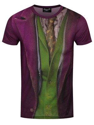 """Justify your 'Joker' title with this awesome costume tee! Based on the outfit worn by one of DC Comics' most iconic villains, this colourful tee features a purple waistcoat and green shirt design. An easy way to ensure you arrive at your next fancy dress party in style, this fun t-shirt will soon have you asking the question, """"Why so serious?"""". Official merchandise."""