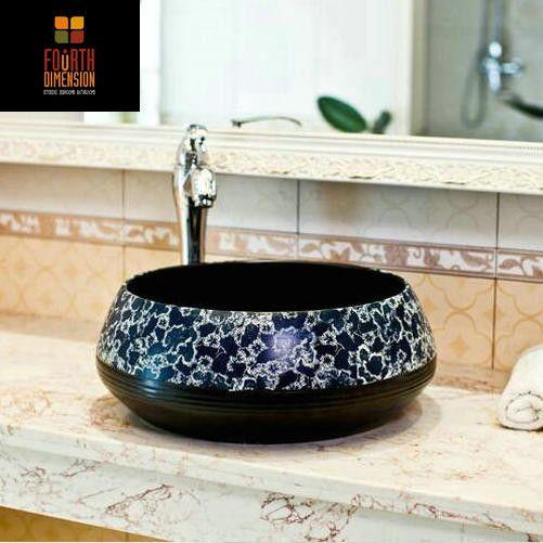 Chinese Vintage Style Porcelain Black Background Deep Blue FlowerCountertop Lavabo  Bathroom Sink Wash Basin - ICON2 Luxury Designer Fixures  Chinese #Vintage #Style #Porcelain #Black #Background #Deep #Blue #FlowerCountertop #Lavabo # #Bathroom #Sink #Wash #Basin