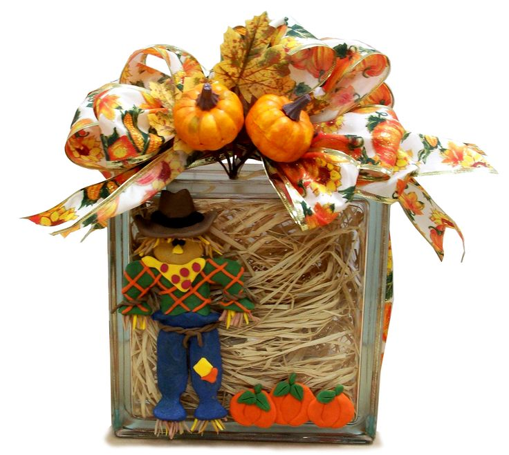 Scarecrow Glass Block designed by Karen S., A.C. Moore Erie, PA #glassblock #fall