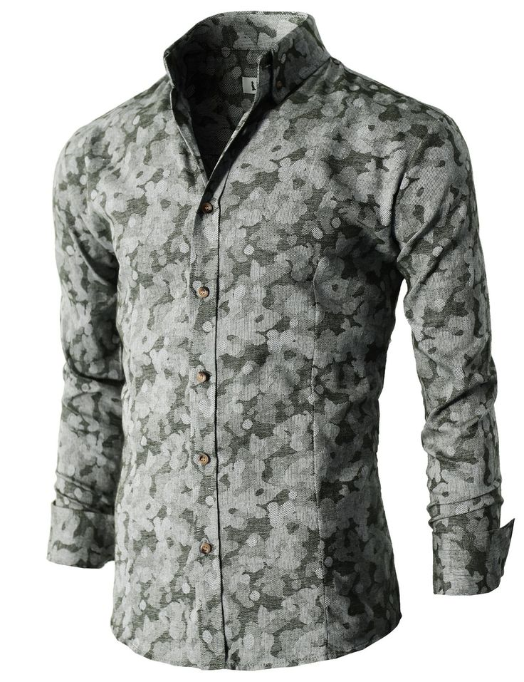 Mens style Patterned Button-down Shirts with Long Sleeve ...
