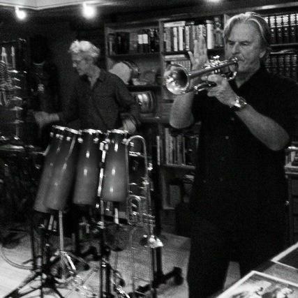 Trevor Eve jamming with Police drummer Stewart Copeland.