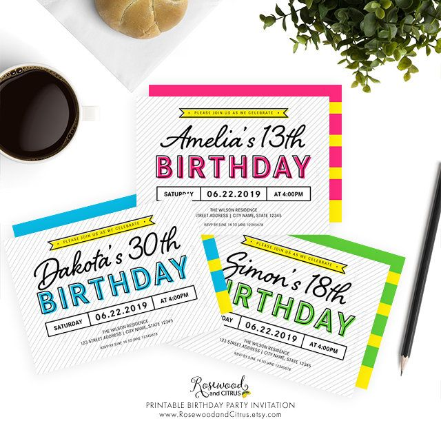 15 best Printable Birthday Invitations - Rosewood and Citrus on - print out birthday invitations