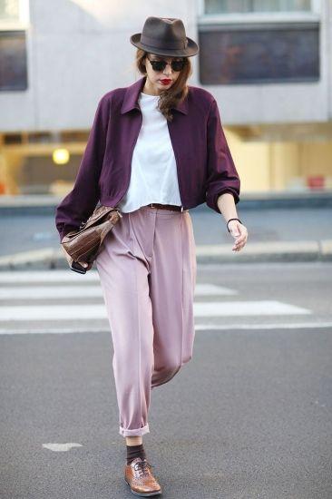 lilac pants, purple cardigan, white shirt, black socks, brown oxfords