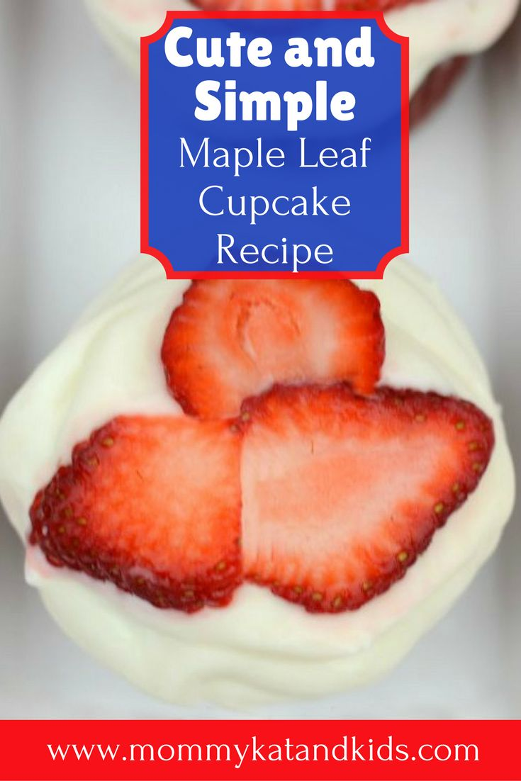 Check out this lovely Canada day recipe that's quick, easy, and delicious! These delicious red velvet cupcakes are topped with a creamy icing and a delicate maple leaf out of strawberries on top. They're as beautiful as they are delicious. Come check out this super easy recipe and save it to your food board.