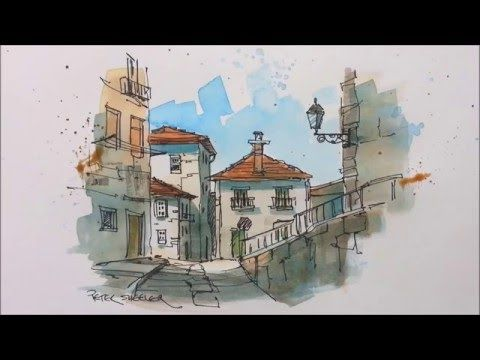 A pen and wash watercolor in my Urban Sketching style. Great for beginners and seasoned artist alike - YouTube